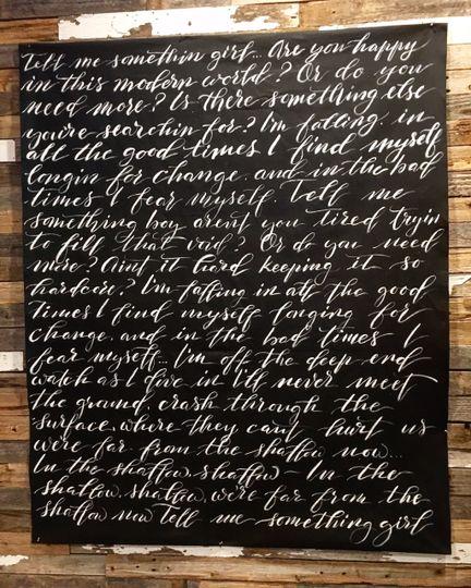 Tapestry with lyrics