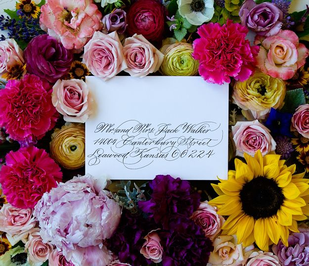 Veronica script with floral background
