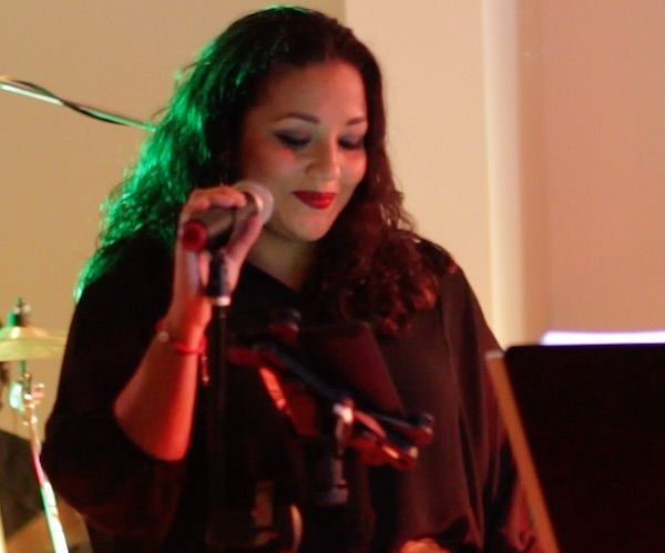 Beautiful female band vocalist