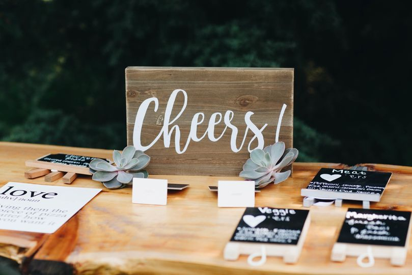 Hand-lettered signs