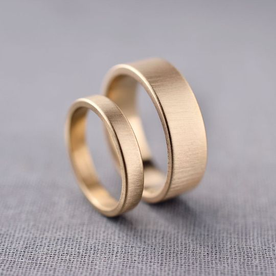 3mm and 6mm 14k gold wedding bands