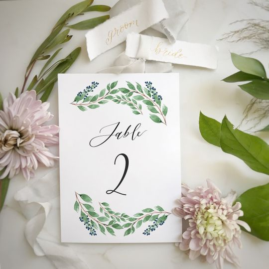 Table Card Watercolor