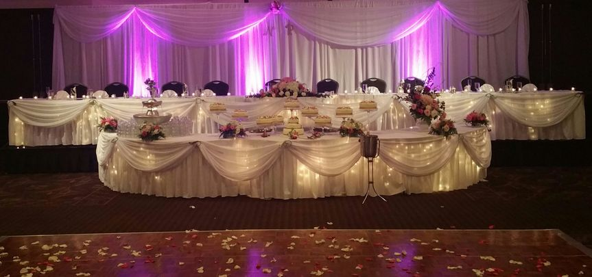 Reception tables and pink uplights
