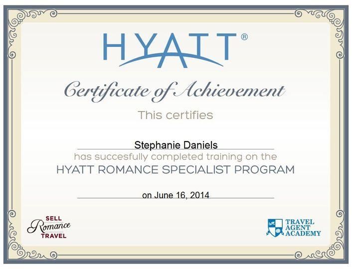 hyatt romance specialistgraduationcertificate
