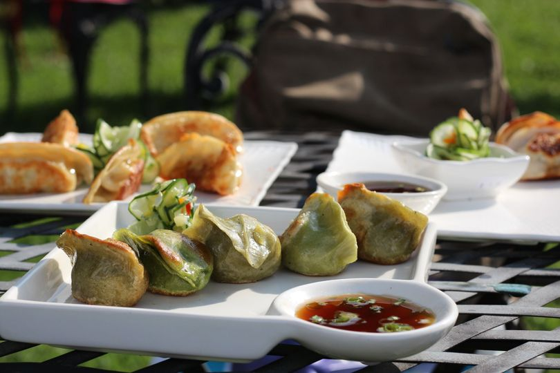 Veggie heaven dumplings- roasted garlic soy