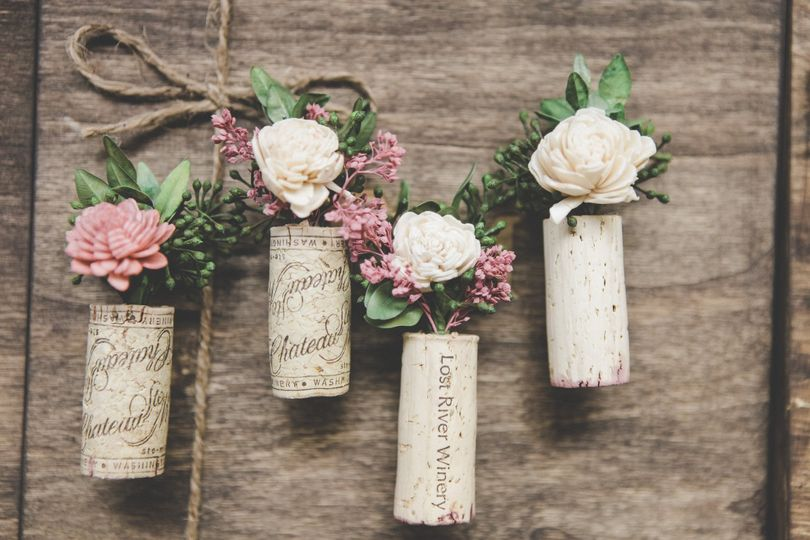 Winecork Boutonnieres are perfect for any winery theme wedding or event.