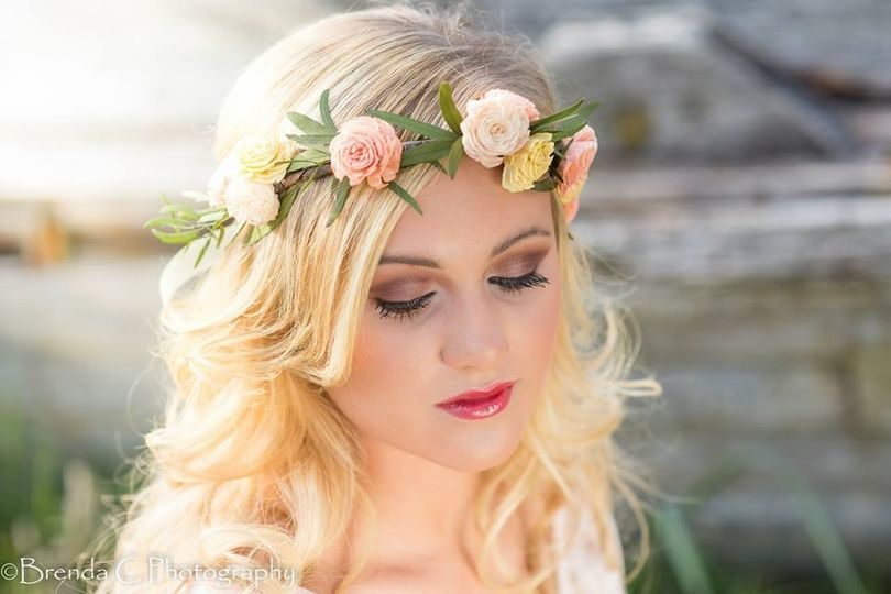 Floral crown or head wreath is made with keepsake flowers...sola flowers and preserved greenery.