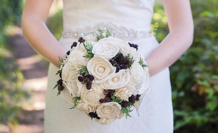 Rustic Keepsake Bridal Bouquet made with preserved cedar, miniature pinecones and sola flowers or...