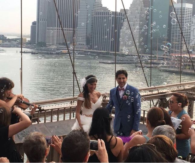 Ceremony on the Brooklyn Bridge.