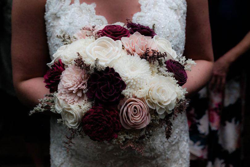 Red, white, bridal boquet