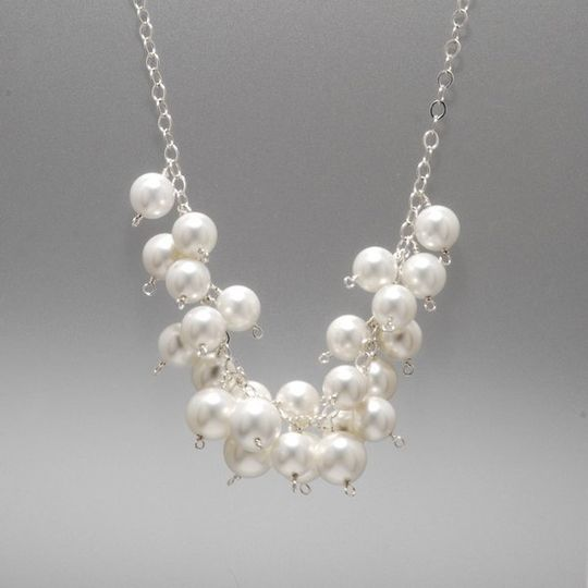 So pretty. Big round freshwater pearls on sterling silver chain. Beautiful on your big day and...