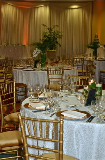 Reception Space in our Clearwater Ballroom  Linens/Chairs: Kate Ryan Linens Decor: Tas Events...