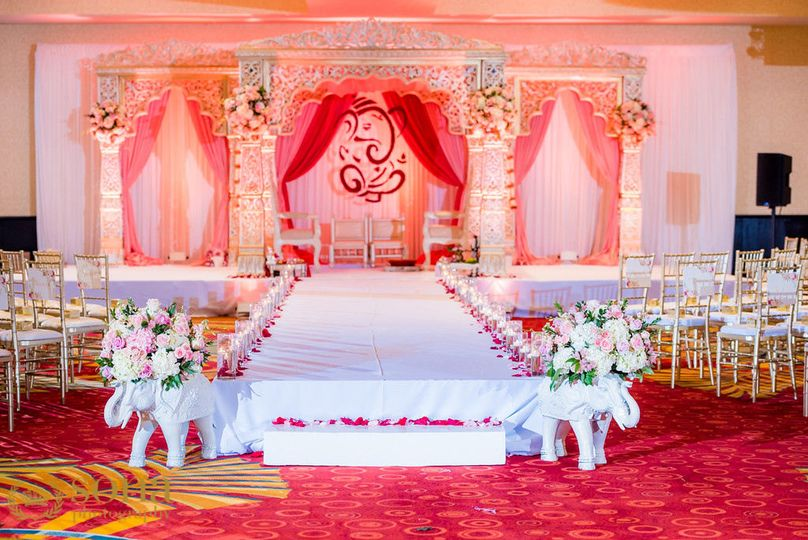 Ceremony & Mandap Set Up in our Grand Ballroom  Photo Credit: Sona Photography