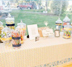"""Sally and Eric's candy buffet features hard candy from Nuts.com.  The bride and groom say, """"Hard..."""
