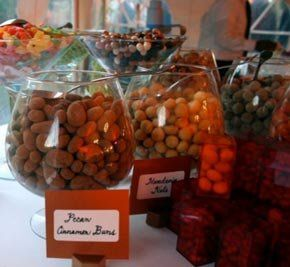 """Alicia and Dave's modern wedding candy buffet.  The bride and groom say, """"We wanted to share with..."""