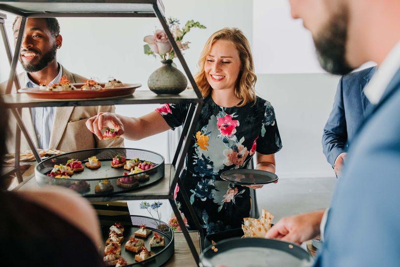 Guests sampling the food