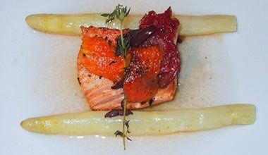 Pan Roasted Salmon with White Asparagus, Tomato Confit and Tomato Broth