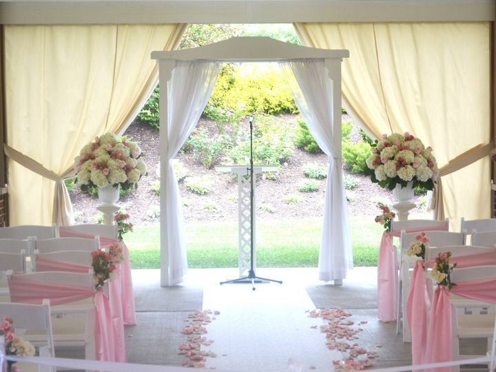 Tmx 1513793046044 Patio With Chair Sashes And Florals Wexford wedding venue