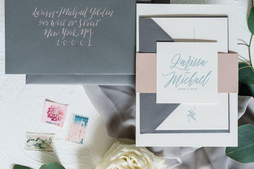 Calligraphed envelope spread