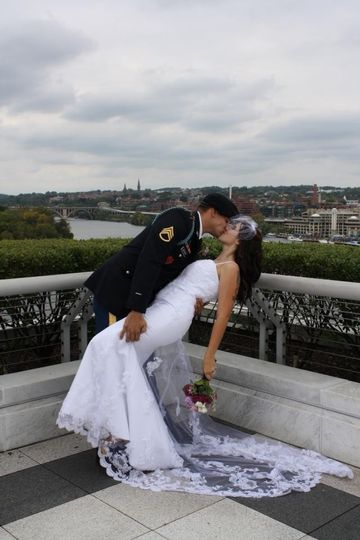 Couple kissing on a rooftop