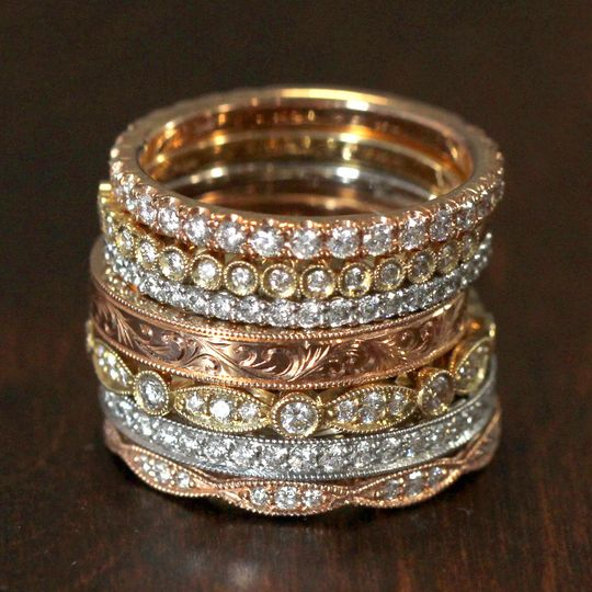 Gold band with diamond studs
