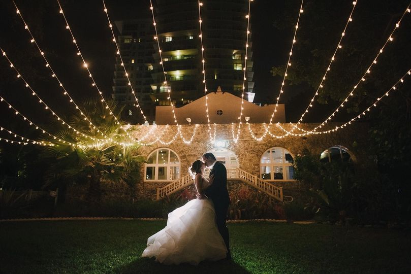 Newlyweds under the lights