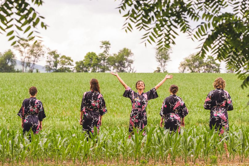 Relaxed bride and bridesmaids