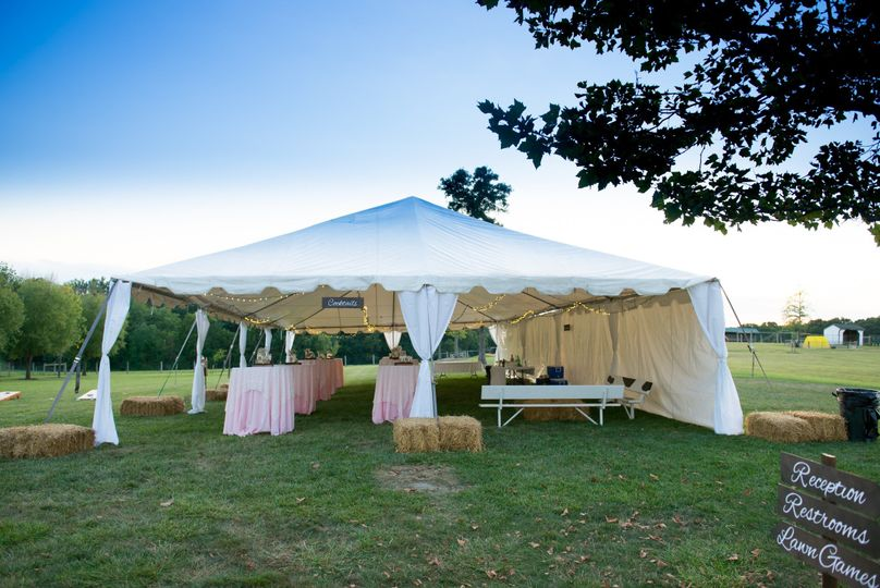 Tent for cocktails, cornhole and horseshoes