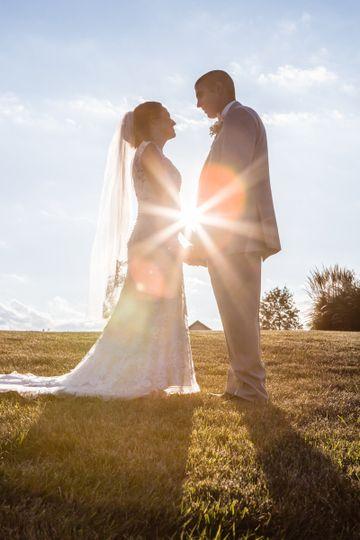 Sunlight shining through the happy couple.