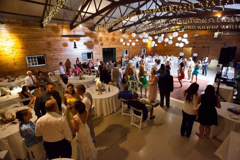 Enjoying the reception in the beautiful barn.