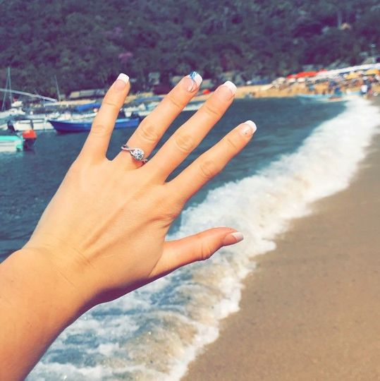 Wedding ring by the beach