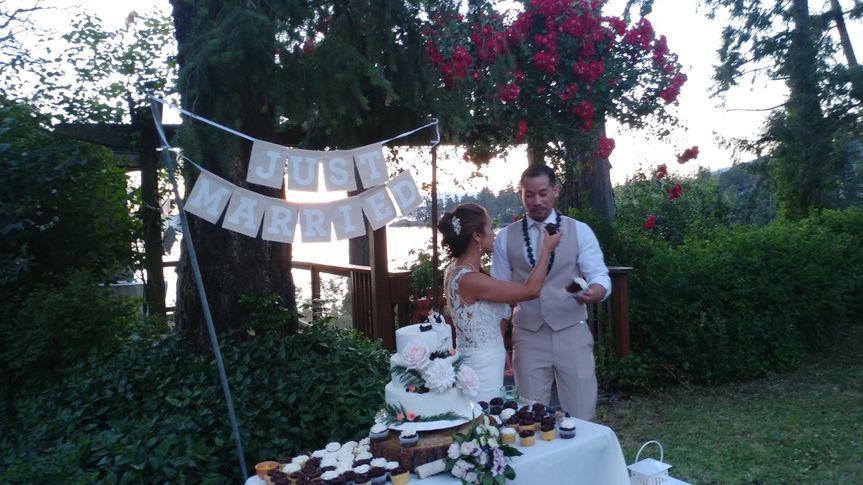 Couple sharing the cake