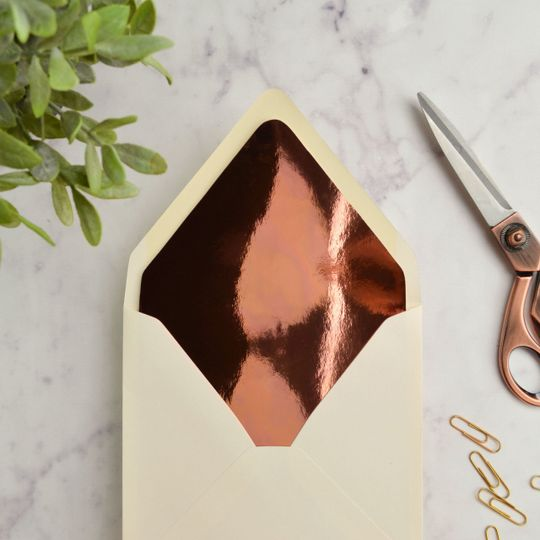 Mirror Copper Envelope liner in Vellum White euro flap envelope.