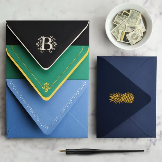 Laser cut envelopes to add a unique look to your invitations.