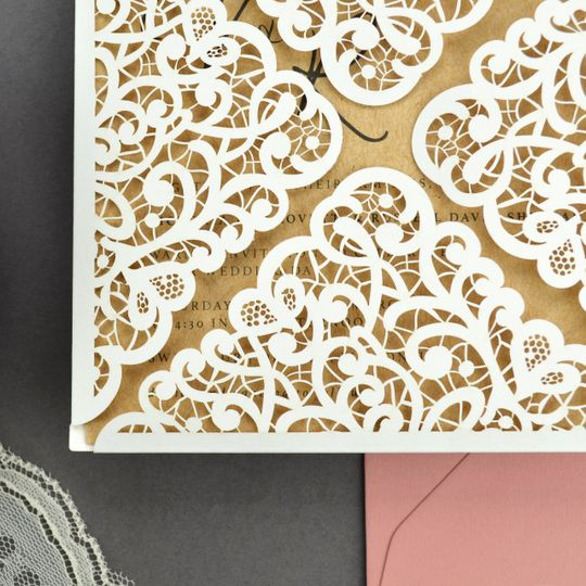 Lace laser cut petal fold for rustic, romantic wedding invitations. Shown in Snow White with Straw...