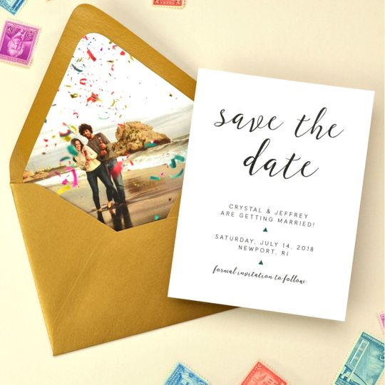 Custom printed envelope liner for a unique save the date.