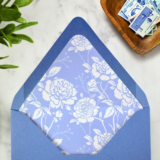 Envelope liners add so much personality to your invitations! Peonies patterned liner in New Blue...