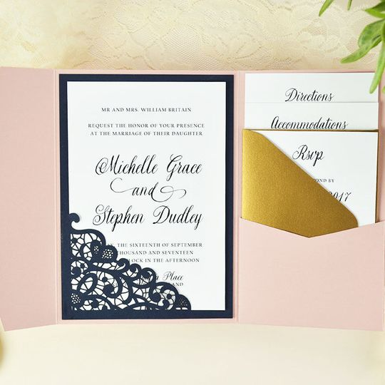 Elegant DIY pocket invitation made easy and budget friendly with Lace laser cut slide-in card in...