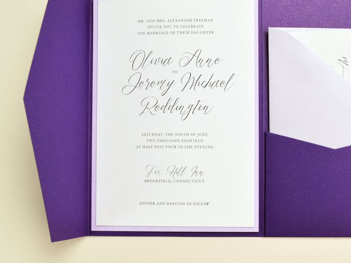 Tmx 1520612185 632e3b971b05d154 1520612183 E0cd752db2a77baf 1520612182081 5 Violet Suite 2 IG  South Easton wedding invitation