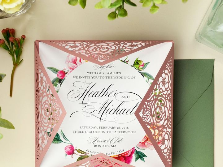 Tmx 1520612231 086474227f422570 1520612229 42dd5b4c38b54652 1520612228380 6 Flower Bouquet Las South Easton wedding invitation