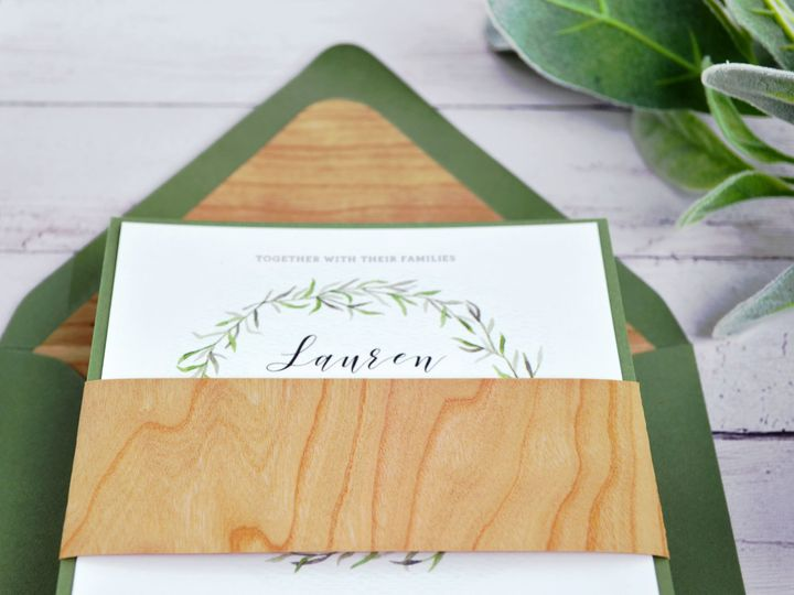 Tmx 1520613125 98b1d7795df6bc0f 1520613122 3c71eac27dbfb6b3 1520613121877 14 Wood Paper Belly  South Easton wedding invitation