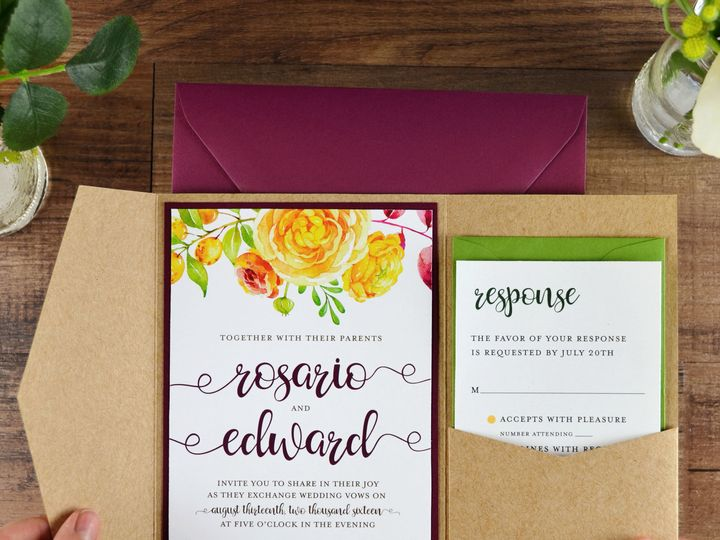 Tmx 1520613717 2d5b4040b6225873 1520613715 F4668bc50fbc6903 1520613713974 17 Diy Pocket Invita South Easton wedding invitation