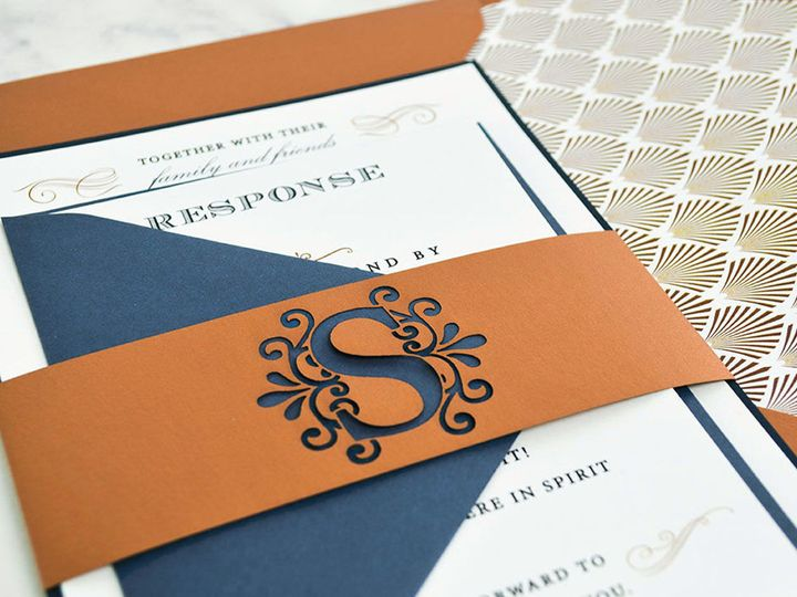 Tmx 1520613751 70ce6ed66d7c6f08 1520613750 Cf01e525ba5dd6e6 1520613749733 18 Elegant Dark Blue South Easton wedding invitation
