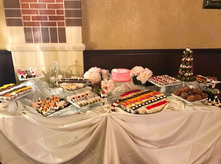 Wedding cake and assorted pastries