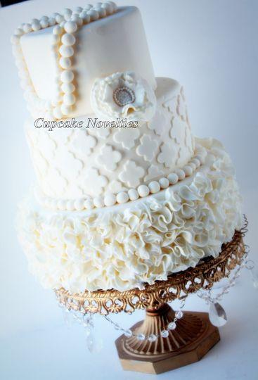 vintage ivory ruffles quatrefoil pearls wedding ca