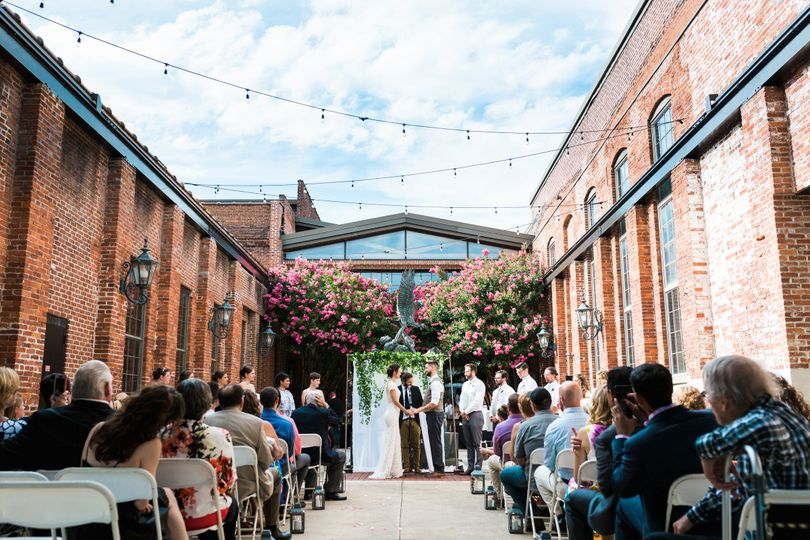 Courtyard Wedding Ceremony in August