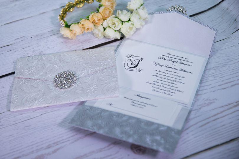 Grey and diamond invites