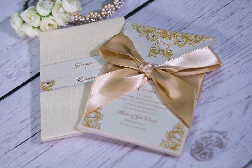 Gold and pink invites