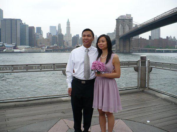 A small civil Chinese wedding underneath the Brooklyn Bridge