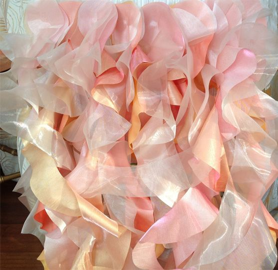 Sherbet inspired wedding brunch. Pinks, corals, oranges & white reception. Curly willow chair covers